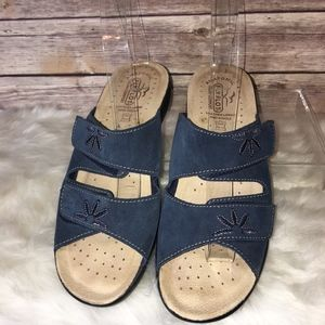FLY FLOT NAVY SUEDE FLORAL Sandals 10/40 NEW
